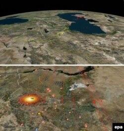 Схема ударов крылатыми ракетами, обнародованная российским министерством обороны