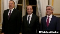 Встреча президентов Франции, Армении и Азербайджана - Франсуа Олланда (в центре), Сержа Саргсяна (справа) и Ильхама Алиева - в Париже, 27 октября 2014 г.