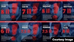 Постер с фотографиями осужденных членов NIDA и указанием их сроков лишения свободы на азербайджанском языке.