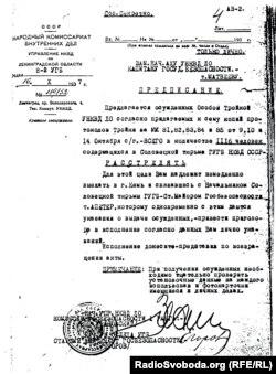 Розпорядження начальника Ленінградського облуправління НКВС Леоніда Заковського, який у другу половину 1937 року керував каральними операціями