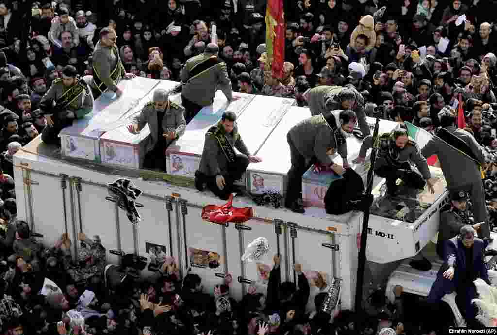The coffin of General Qasem Soleimani and coffins of others who were killed in Iraq by the January 3 U.S. drone strike.