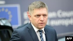 Belgium - Slovakia's Prime minister Robert Fico arrives for an EU summit meeting, at the European Union headquarters in Brussels, on February 18, 2016