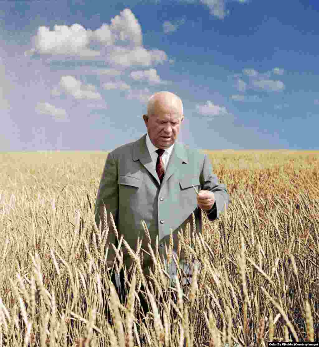 "Soviet leader Nikita Khrushchev in a wheat field near today's Astana in 1964. The town at the time was named Tselinograd, based on the Russian word ""tselina,"" meaning ""virgin lands."""