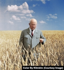 Soviet Premier Nikita Khrushchev in one of the vast wheat fields of the Kazakh Soviet Socialist Republic in 1964.