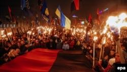Pamje nga marshi në Ukrainë