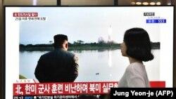 Հարավային Կորեայի հեռուստատեսությամբ հաղորդում են Հյուսիսային Կորեայի կողմից հրթիռների փորձարկման մասին, Սեուլ, 31-ը հուլիսի, 2019թ․
