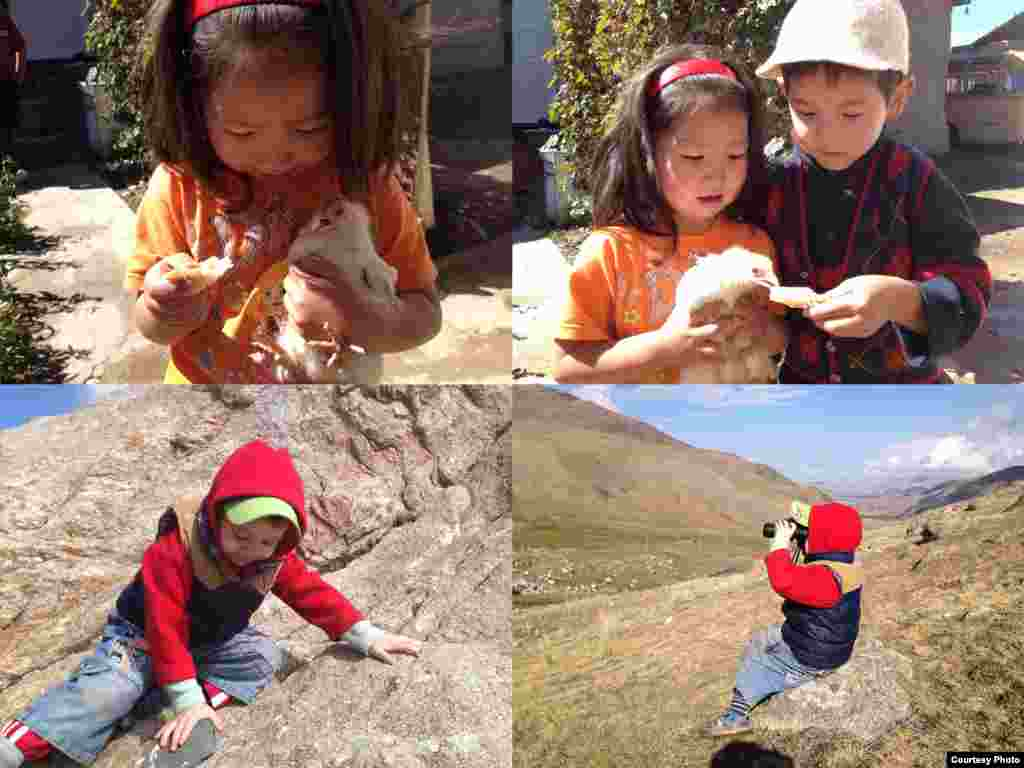 Turan Imel, 11, took pictures of young friends in a Kyrgyz village: 5-year-old Alina, who lives with her grandmother and takes care of her pet chick with a friend; and 3-year-old Atai-Askar, who likes to see the world through his grandfather's binoculars.