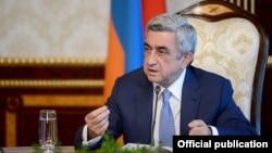 Armenia - President Serzh Sarkisian speaks at a meeting in Yerevan.