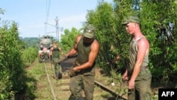 Russian railway troops repairing railway lines in Abkhazia
