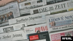 Generic – A photo of International and Russian newspapers, Prague, 17Jun2009