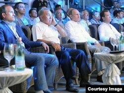 Viktor Medvedchuk (left) is seen with Kazakh President Nursultan Nazarbaev (second from left), Russian President Vladimir Putin, and Russian Prime Minister Dmitry Medvedev in Sochi on August 17.