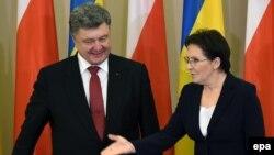 Эва Копач с украинским президентом Петром Порошенко