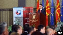 Обраќање на премиерот Никола Груевски на средбата со бизнис заедницата и стопанските комори во септември годинава.