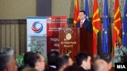 Обраќање на премиерот Никола Груевски на средбата со бизнис заедницата и стопанските комори.
