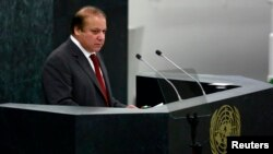 Pakistani Prime Minister Muhammad Nawaz Sharif speaks during the United Nations 68th session of the General Assembly on September 27.