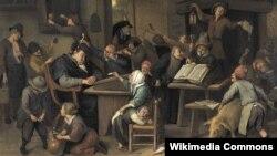 """Ян Стэн, """"Настаўнік заснуў у клясе"""" (1672)."""
