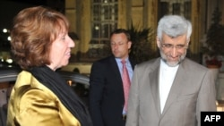 Iran's top nuclear negotiator Said Jalili (right) with European Union foreign policy chief Catherine Ashton in Istanbul on May 15.