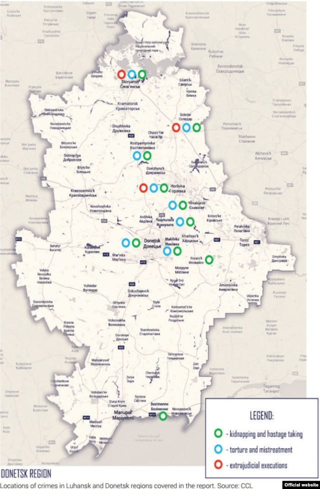 Места, где Зафиксировано преступления против человека в Луганской и Донецкой областях.  Инфографика Центра гражданских свобод