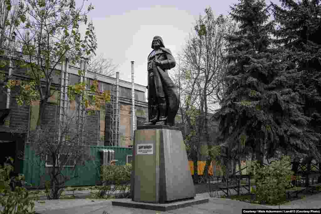In Odesa, locals dressed up a Lenin statue as Star Wars villain Darth Vader.