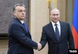 Виктор Орбан и Владимир Путин на переговорах в Ново-Огарево, февраль 2016 года