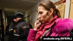 Syarhey Kavalenka's wife, Alenka, at her husband's trial in Vitsebsk on February 24.