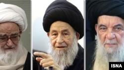 از راست: آیت الله حسینی زنجانی، علوی گرگانی و صافی گلپایگانی