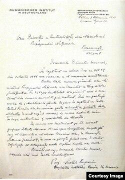 O scrisoare a lui Sextil Pușcariu depîngînd lipsa de fonduri a Institutului (Foto: Irina Matei, L. Nastasă-Kovacs, Cultură și propagandă)