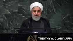 Иран президенті Хассан Роухани БҰҰ Бас ассамблеясында сөйлеп тұр. Нью-Йорк, 25 қыркүйек 2018 жыл.