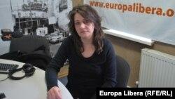 Chantal Doupeux în studioul Europei Libere la Chișinău