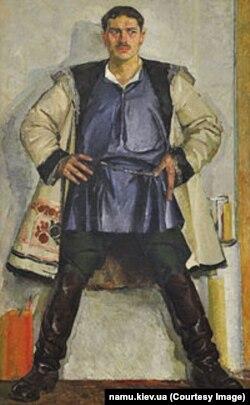 Федір Кричевський, автопортрет у білому кожусі