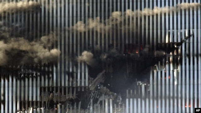 The impact site of American Airlines Flight 11 in the North Tower of the World Trade Center in New York on September 11, 2001, which along with the South Tower collapsed within hours of the coordinated attacks.