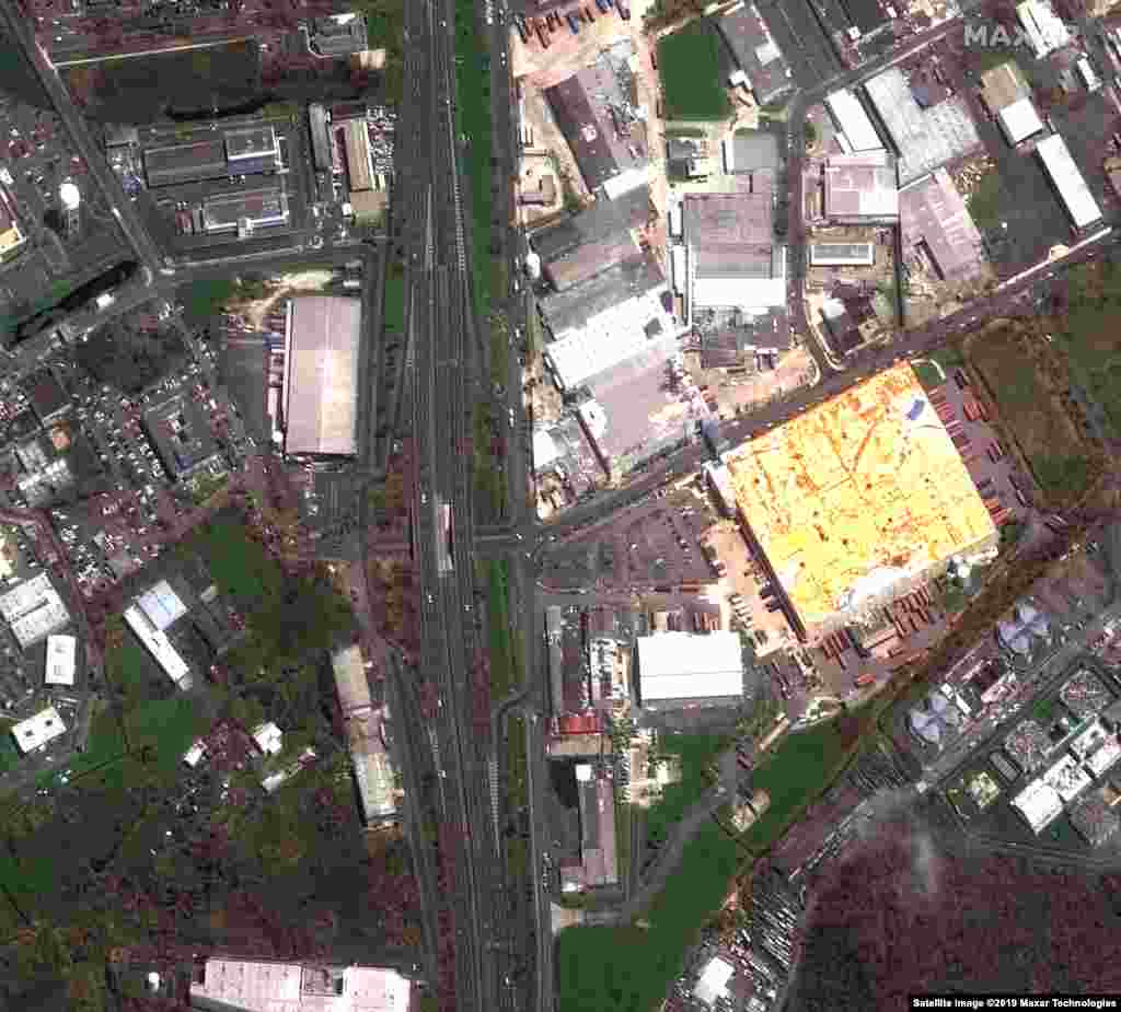 PUERTO RICO -- Satellite image shows damaged buildings in Bayamon on September 24, 2017 after the Hurricane Maria