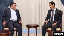 علی شمخانی (چپ) در دیدار با بشار اسد