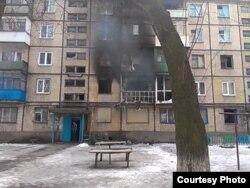 Прямое попадание в квартиру дома № 5 по улице Королева, Авдеевка, 26 января 2015 года