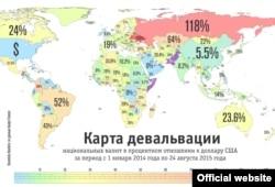 Карта девальвации национальных валют за последние два года, данные Google Finance