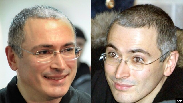 Mikhail Khodorkovsky during his trial in Moscow in 2003 (right) and in 2011 while in prison.