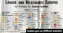 Додаток до карти країн і населення Європи професора Дітріха Шефера, 1918 рік. (Щоб відкрити додаток у більшому форматі, натисніть на зображення. Відкриється у новому вікні)