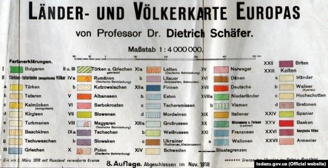 Додаток до карти країн і населення Європи професора Дітріха Шефера, 1918 рік, Німеччина. (Щоб відкрити мапу у більшому форматі, натисніть на зображення. Відкриється у новому вікні)
