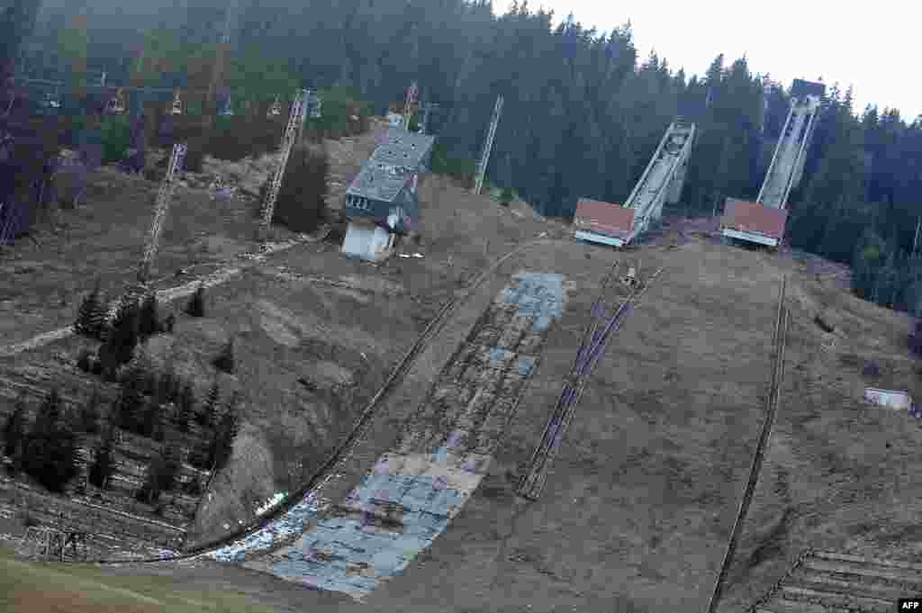 The disused ski jump on Mount Igman
