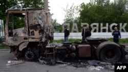 Въезд в Славянск 5 мая 2014 года