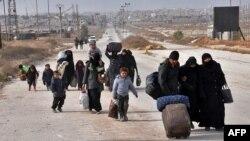 Жители на Алепо го напуштаат источниот дел на градот, 29.11.2016.