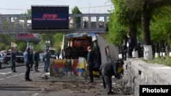 Armenia -- The site of a bus explosion in Yerevan, 26Apr2016