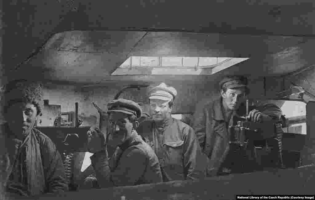 Legionnaires inside the Orlik. Their journey east continued, but while the Czechoslovak rebels were now virtually unstoppable, the going was slow.
