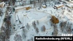 Вигляд будівництва на Потєхіна, 9 з висоти