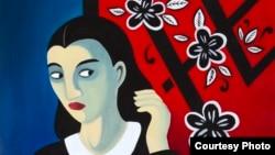 یکی از نقاشیهای مرجان ساتراپی که در پاریس به نمایش در آمد.