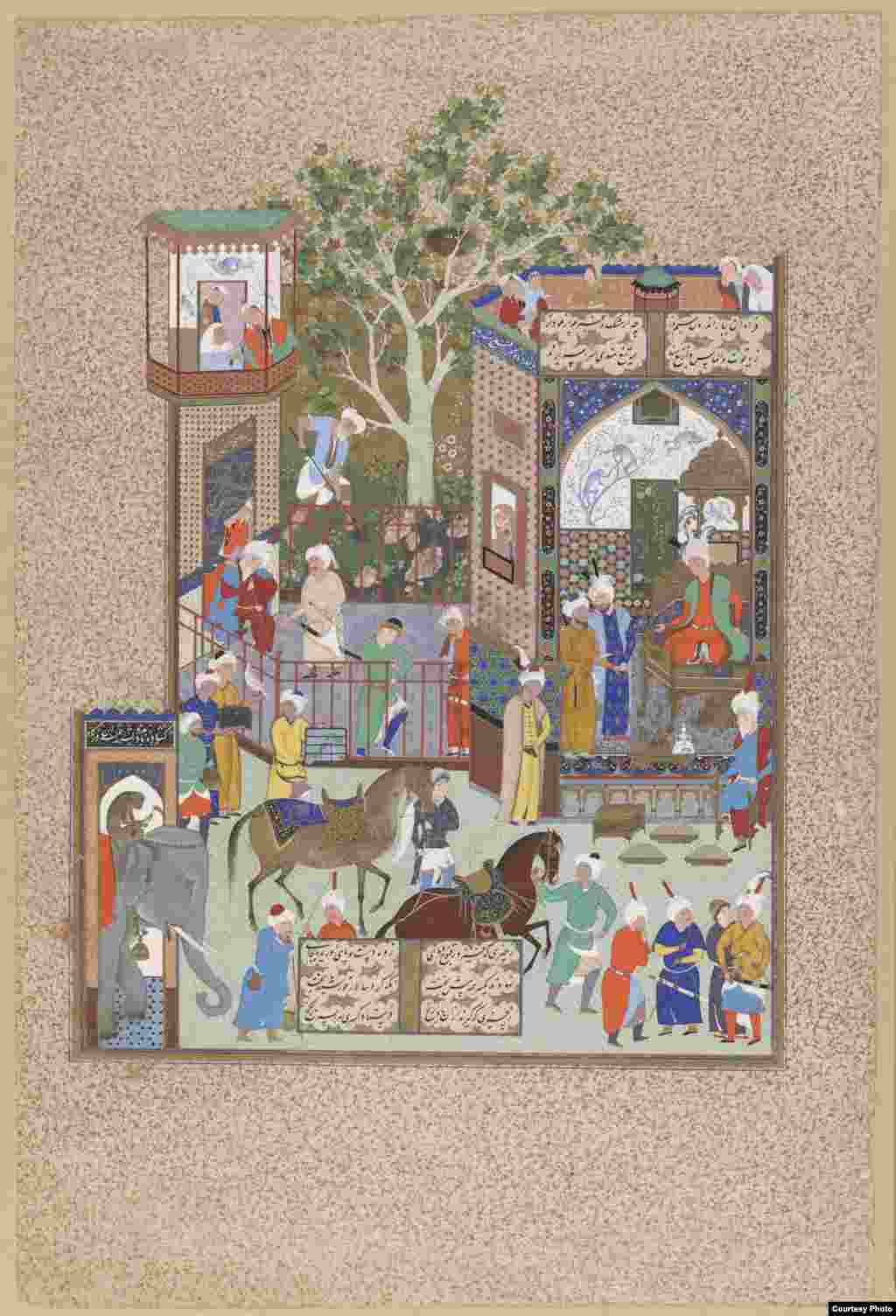 "Ferdowsi's poem stops at the 7th-century Islamic conquest of Persia, probably, scholars says, because he ran out of time to record events beyond that point. ""Nurshivan Receives An Embassy From The Ray Of Hind,"" Tabriz, Iran, circa 1520s, from ""The Shahnameh"" (Book of Kings) by Firdawsi Photos courtesy of the Smithsonian Institute, Washington, D.C."