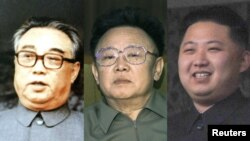 کیم ایل-سونگ (چپ)، کیم جونگ-ایل (وسط) و کیم جونگ-اون.