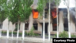 Several buildings, including the provincial police headquarters, were set on fire by angry protesters.
