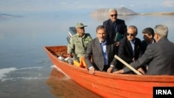 Deputy of Iran's president, Eshagh Jahangiri, visits Urmia lake on Sunday April 01, 2018.