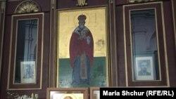 Православний собор св. Кирила і Мефодія, Прага. Ікона святого великомученика єпископа Празького Ґоразда. Його разом зі священиками В'ячеславом Чиклом і Володимиром Петржком розстріляли нацисти за те, що вони надали притулок диверсантам, які вбили Рейнхарда Гейдріха